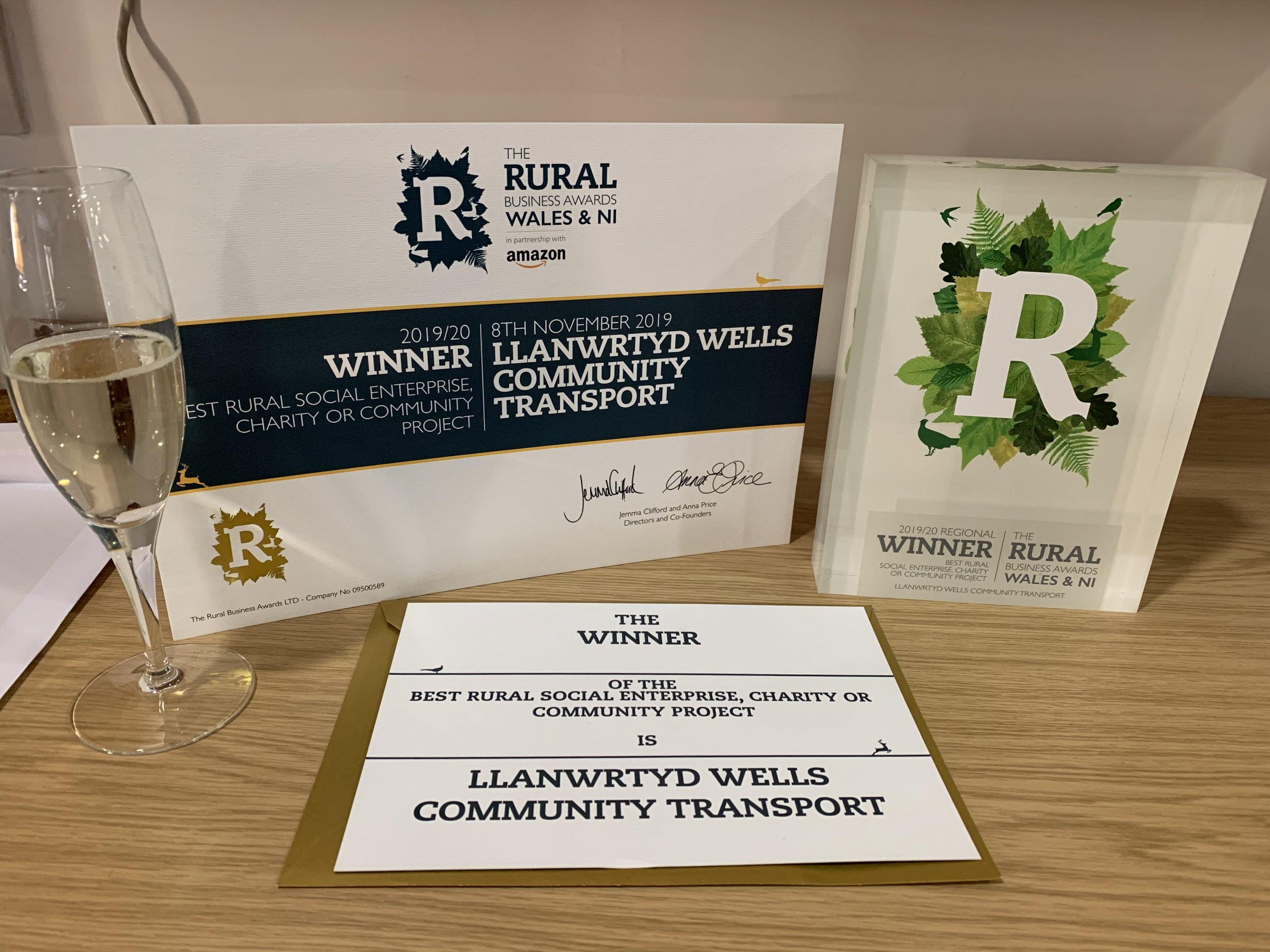 "Double Award Winners!! ""Best Rural Social Enterprise(Wales & N.I.)"" and""Serving Rural Communities Award"" 2019-20"